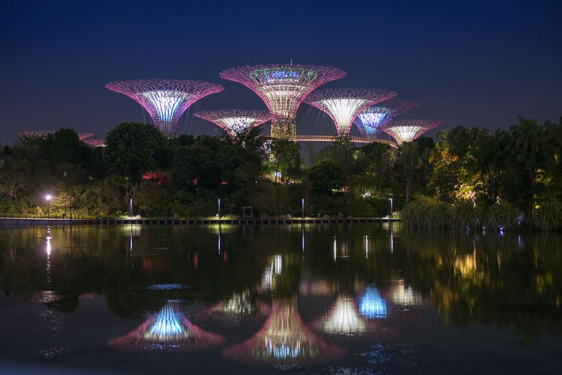 Singapur, Supertrees, Flower Dome, Nacht