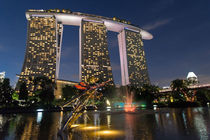 Singapur, Gardens by the Bay, Marina Bay Sands Hotel, Singapore Highlights, Nacht