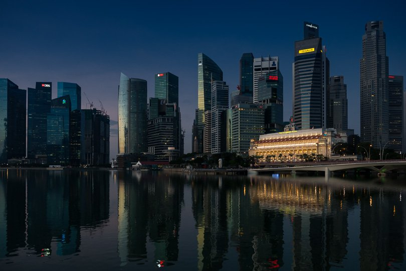 Singapur, Marina Bay, Highlights, Skyline, Singapore Highlights, blaue Stunde