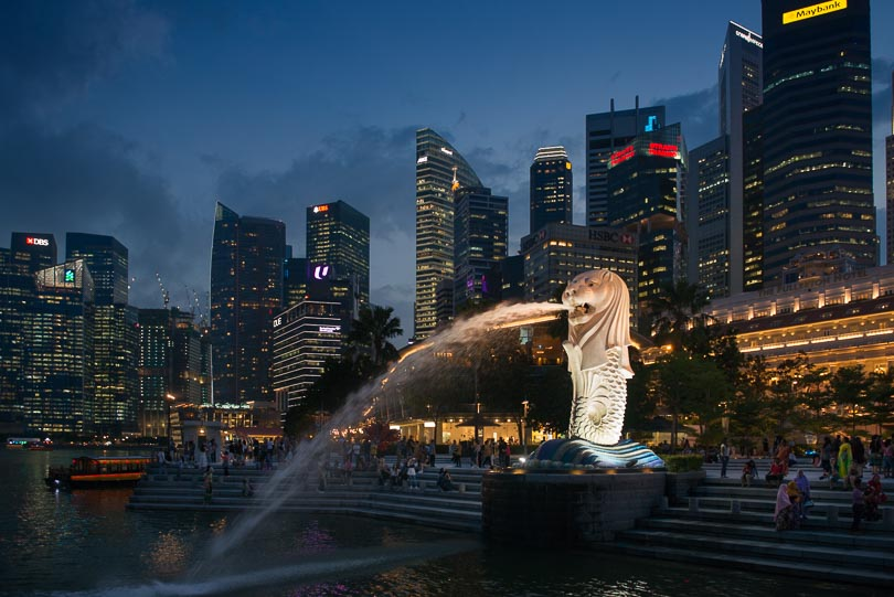 Singapur, Marina Bay, Merlion, Skyline, Night, Nachtaufnahme