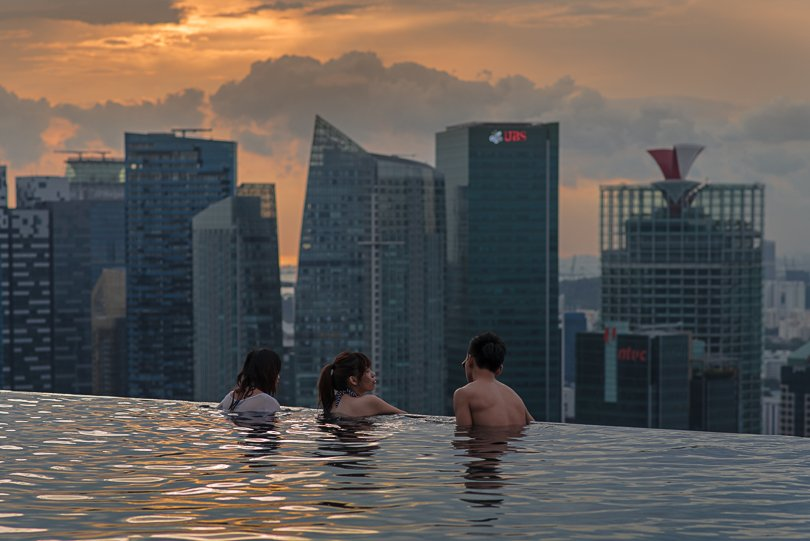 Singapur, Pool, Hoteldach, Marina Bay Sands Hotel, Singapore Highlights