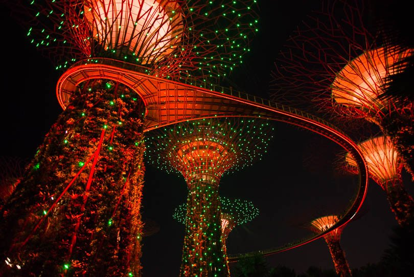Singapur, Supertrees by Night, Gardens by the Bay, Singapore Highlights